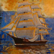 Tall Ship In The Sunset Poster