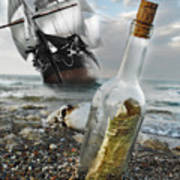 Tall Ship Message In A Bottle Poster