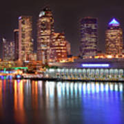 Tampa Skyline At Night Early Evening Poster