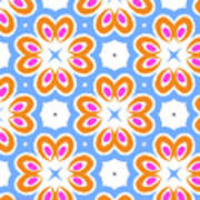 Tangerine And Sky Floral Pattern- Art By Linda Woods Poster
