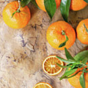 Tangerines With Leaves Poster