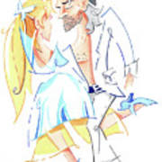 Tango Nuevo - Gancho Step - Dancing Illustration Poster