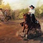 Tango Reining Horse Slide Stop Portrait Painting Poster