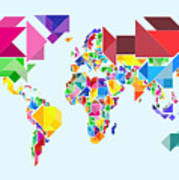Tangram Abstract World Map Poster by Michael Tompsett
