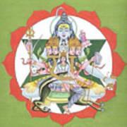 Tantrik Diagram Of Lord Shiva, Mantra Yantra ,indian Miniature Painting, Watercolor Artwork, India Poster
