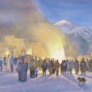 Taos Pueblo On Christmas Eve Poster