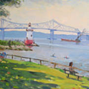 Tappan Zee Bridge And Light House Poster