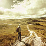 Tasmanian Man On Road In Nature Reserve Poster