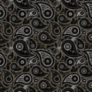 Taupe Brown Paisley Design Poster