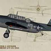Tbm-3 Avenger Profile Art Poster