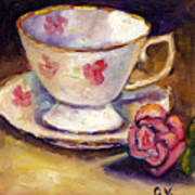 Tea Cup With Rose Still Life Grace Venditti Montreal Art Poster