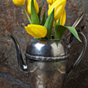 Tea Pot And Tulips Poster