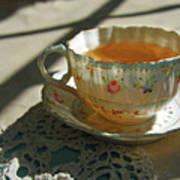 Teacup On Lace Poster