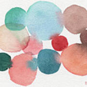 Teal And Coral Abstract Watercolor  Poster