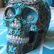 Teal Gem Art Skull Poster