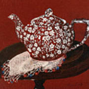 Teapot Calico Red Poster