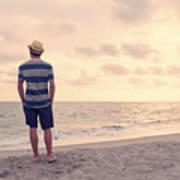 Teen Boy On Beach Poster