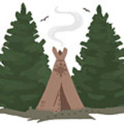 Teepee In The Woods Poster