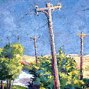 Telephone Poles Before The Rain Poster