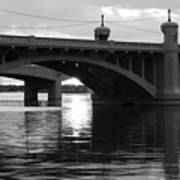 Tempe Town Lake Bridge Black And White Poster