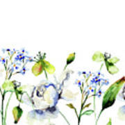 Template For Card With Decorative Wild Flowers Poster