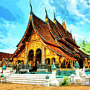 Temple In Laos Poster