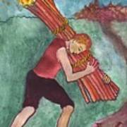 Ten Of Wands Illustrated Poster