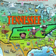 Tennessee Usa Cartoon Map Poster