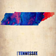Tennessee Watercolor Map Poster by Naxart Studio
