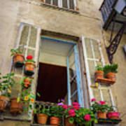 Terra Cotta Pots Outside Window In Old Town Nice, France Poster