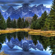 Teton Dawn Reflection Poster