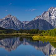 Teton Mountains Reflection Poster