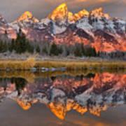 Teton Mountains Sunrise Rainbow Poster