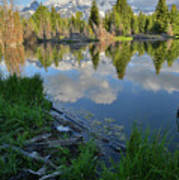 Teton Reflection In Schwabacher Landing Poster