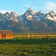 Tetons And Cabin Poster