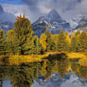 Tetons And Schwabacher Pond Poster