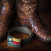 Texas Boots And Belt Buckle Poster