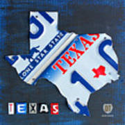 Texas License Plate Map Poster