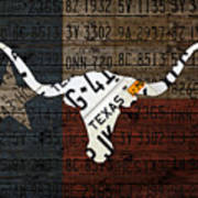 Texas Longhorn Recycled Vintage License Plate Art On Lone Star State Flag Wood Background Poster