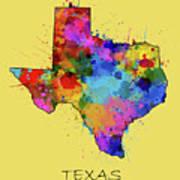 Texas Map Color Splatter 4 Poster