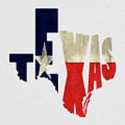 Texas Typography Map Flag Poster