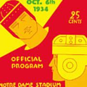Texas Vs Notre Dame 1934 Program Poster