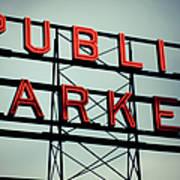 Text Public Market In Red Light Poster by © Reny Preussker