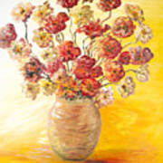 Textured Flowers In A Vase Poster