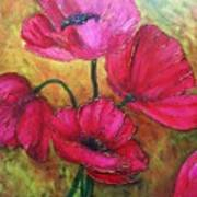 Textured Poppies Poster