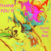 Thank You Card Abstract Lilac Breasted Roller Poster