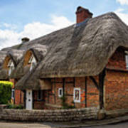 Thatched Cottages In Chawton Poster