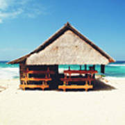 Thatched Roof Cottage/shack On A Perfect White Sand Tropical Beach Bali, Indonesia Poster