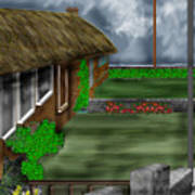 Thatched Roof Cottages In Ireland Poster