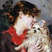 The Actress Rejane And Her Dog Poster by Giovanni Boldini